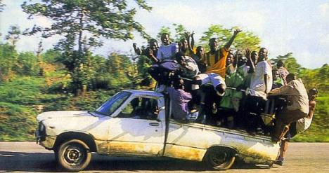 Na África você viaja assim