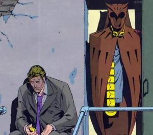 O coruja e seu traje. Ele vive depressivo por não poder ser um vigilante