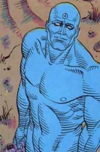 Dr. Manhatan, o único heroi com super-poderes.